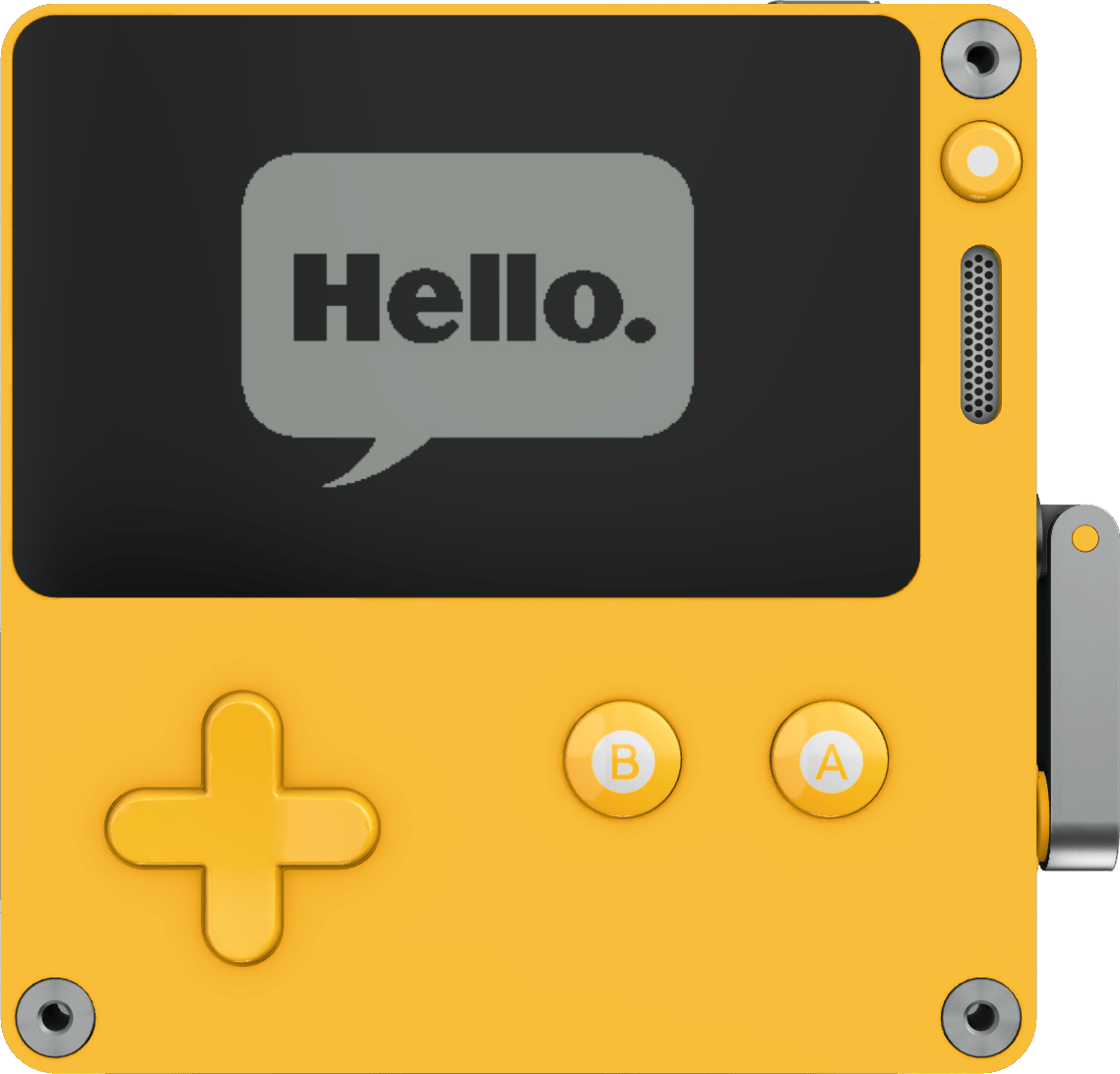 A Playdate device with the word 'Hello' displayed on its screen.